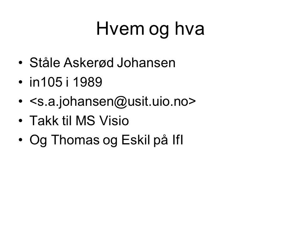Hvem og hva •Ståle Askerød Johansen •in105 i 1989 • •Takk til MS Visio •Og Thomas og Eskil på IfI