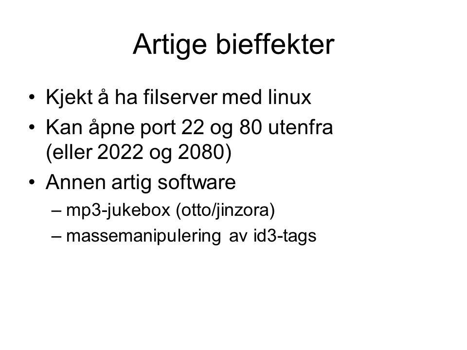 Artige bieffekter •Kjekt å ha filserver med linux •Kan åpne port 22 og 80 utenfra (eller 2022 og 2080) •Annen artig software –mp3-jukebox (otto/jinzora) –massemanipulering av id3-tags