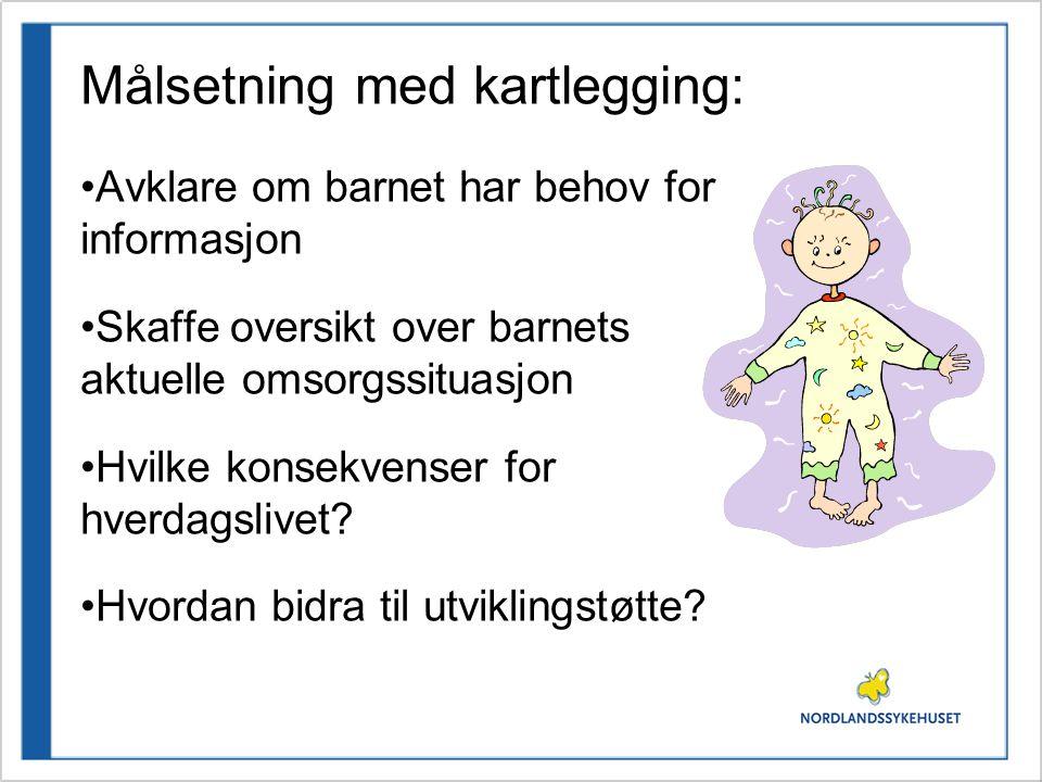 Målsetning med kartlegging: •Avklare om barnet har behov for informasjon •Skaffe oversikt over barnets aktuelle omsorgssituasjon •Hvilke konsekvenser for hverdagslivet.