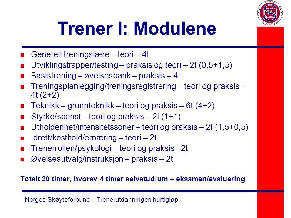 Norges Skøyteforbund – Trenerutdanningen hurtigløp Trener I: Modulene n Generell treningslære – teori – 4t n Utviklingstrapper/testing – praksis og te