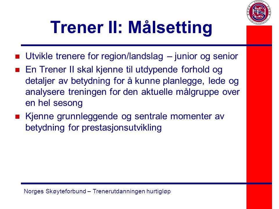 Norges Skøyteforbund – Trenerutdanningen hurtigløp Trener II: Målsetting n Utvikle trenere for region/landslag – junior og senior n En Trener II skal
