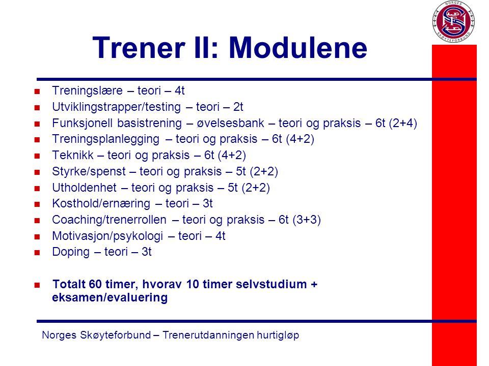 Norges Skøyteforbund – Trenerutdanningen hurtigløp Trener II: Modulene n Treningslære – teori – 4t n Utviklingstrapper/testing – teori – 2t n Funksjon