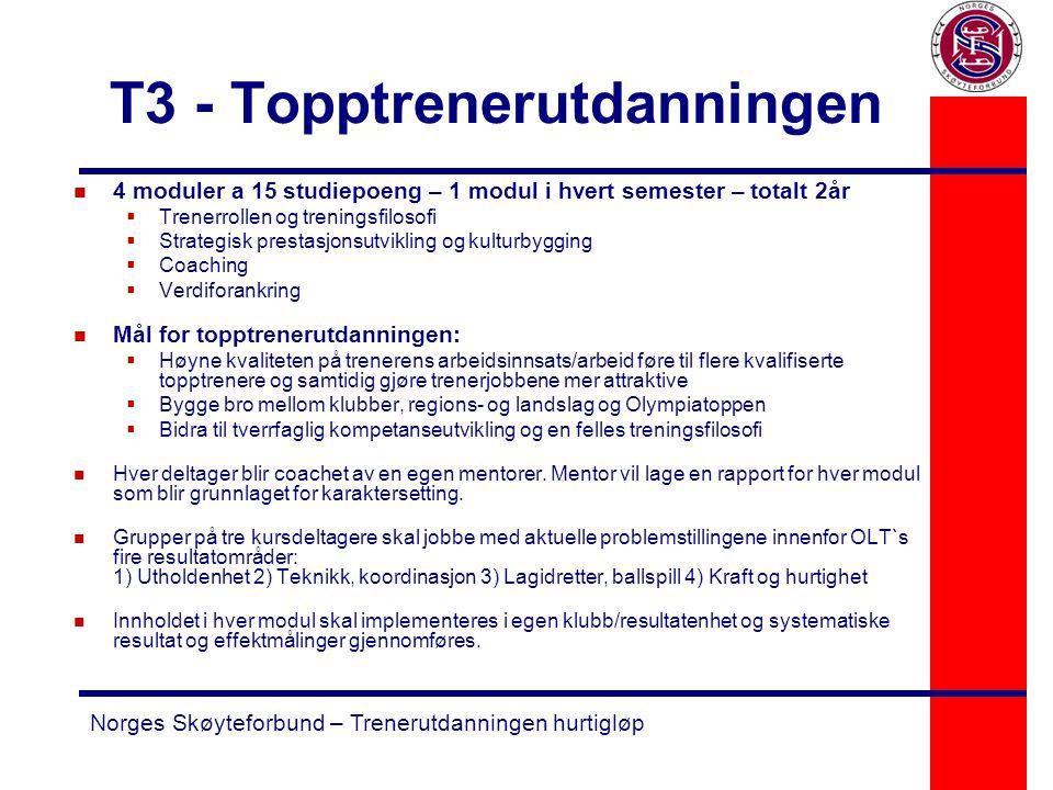 Norges Skøyteforbund – Trenerutdanningen hurtigløp T3 - Topptrenerutdanningen n 4 moduler a 15 studiepoeng – 1 modul i hvert semester – totalt 2år  T