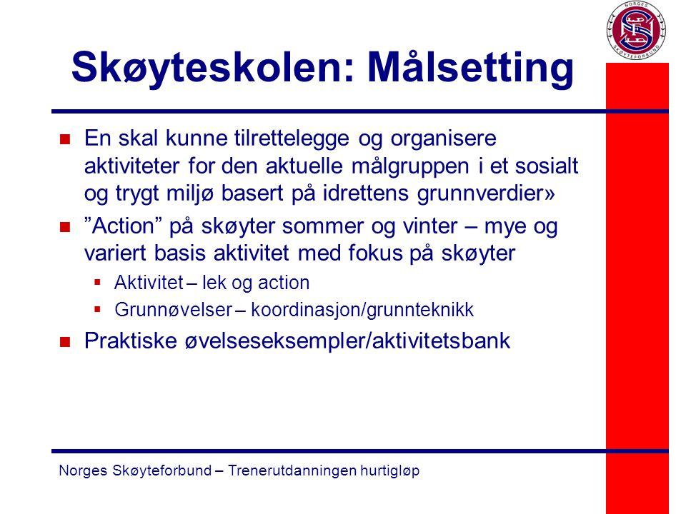 Norges Skøyteforbund – Trenerutdanningen hurtigløp Skøyteskolen: Målsetting n En skal kunne tilrettelegge og organisere aktiviteter for den aktuelle m