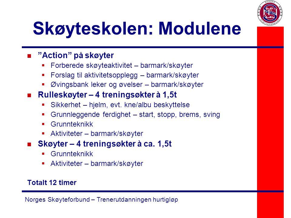 "Norges Skøyteforbund – Trenerutdanningen hurtigløp Skøyteskolen: Modulene n ""Action"" på skøyter  Forberede skøyteaktivitet – barmark/skøyter  Forsla"