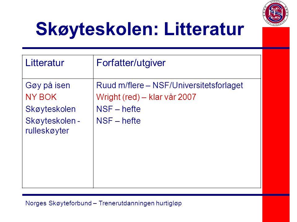Norges Skøyteforbund – Trenerutdanningen hurtigløp Skøyteskolen: Litteratur LitteraturForfatter/utgiver Gøy på isen NY BOK Skøyteskolen Skøyteskolen -