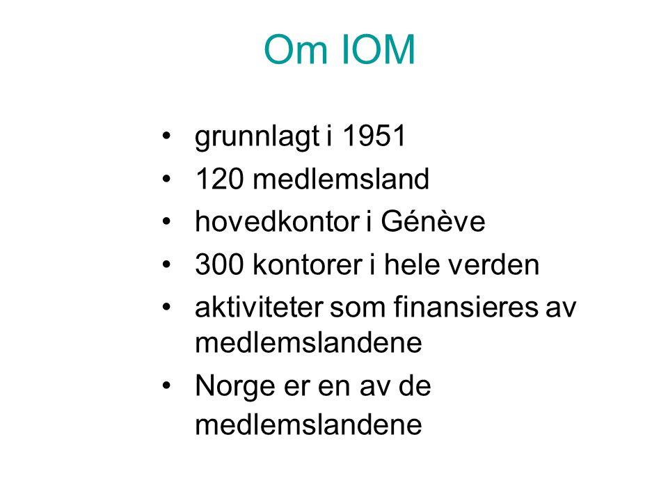 Om IOM •grunnlagt i 1951 •120 medlemsland •hovedkontor i Génève •300 kontorer i hele verden •aktiviteter som finansieres av medlemslandene •Norge er e