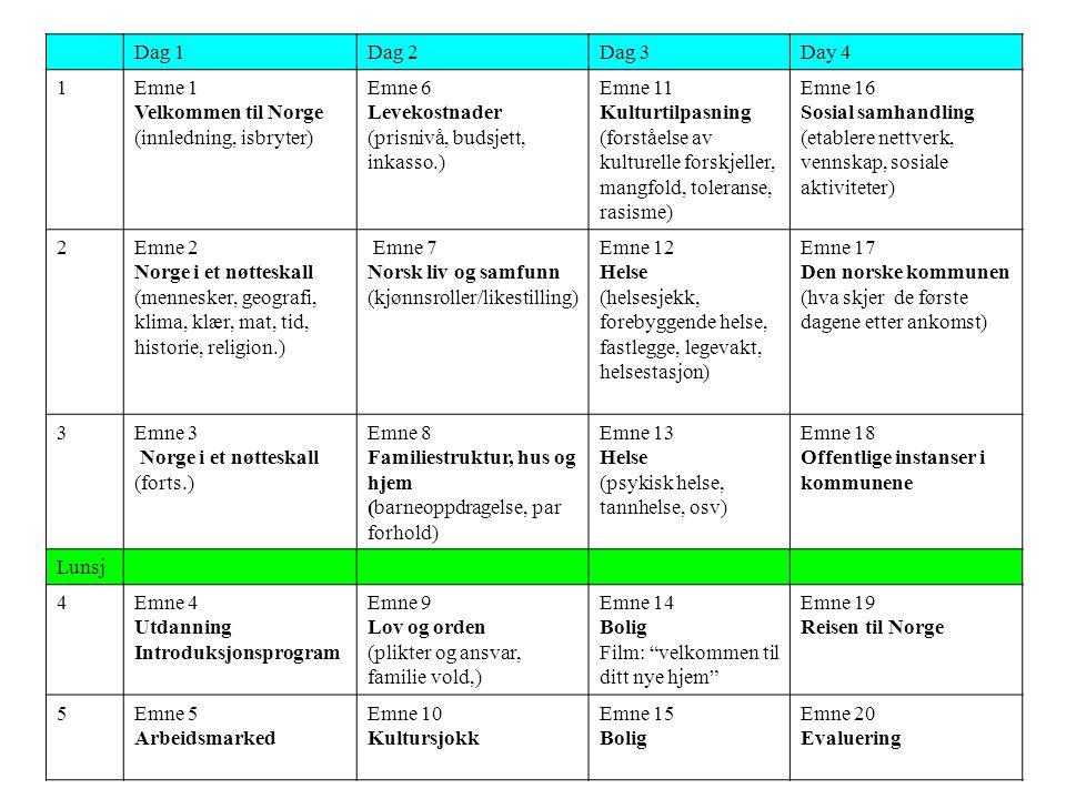 Dag 1Dag 2Dag 3Day 4 1Emne 1 Velkommen til Norge (innledning, isbryter) Emne 6 Levekostnader (prisnivå, budsjett, inkasso.) Emne 11 Kulturtilpasning (