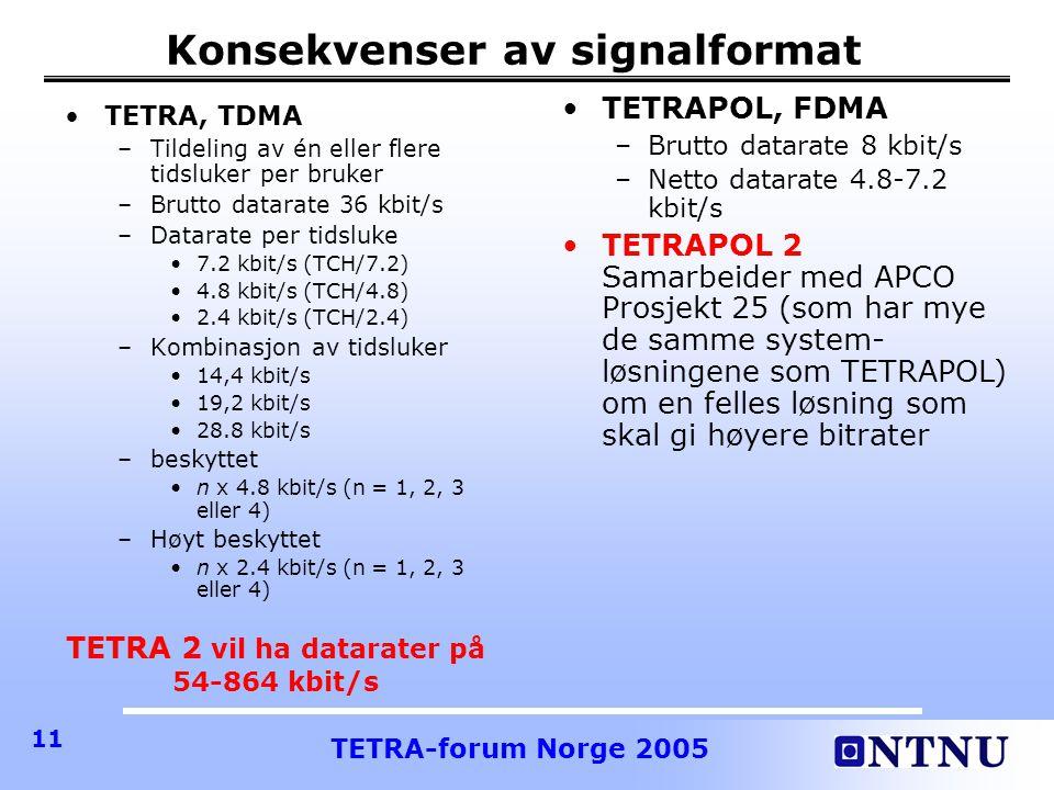 TETRA-forum Norge 2005 11 Konsekvenser av signalformat •TETRAPOL, FDMA –Brutto datarate 8 kbit/s –Netto datarate 4.8-7.2 kbit/s •TETRAPOL 2 Samarbeider med APCO Prosjekt 25 (som har mye de samme system- løsningene som TETRAPOL) om en felles løsning som skal gi høyere bitrater •TETRA, TDMA –Tildeling av én eller flere tidsluker per bruker –Brutto datarate 36 kbit/s –Datarate per tidsluke •7.2 kbit/s (TCH/7.2) •4.8 kbit/s (TCH/4.8) •2.4 kbit/s (TCH/2.4) –Kombinasjon av tidsluker •14,4 kbit/s •19,2 kbit/s •28.8 kbit/s –beskyttet •n x 4.8 kbit/s (n = 1, 2, 3 eller 4) –Høyt beskyttet •n x 2.4 kbit/s (n = 1, 2, 3 eller 4) TETRA 2 vil ha datarater på 54-864 kbit/s