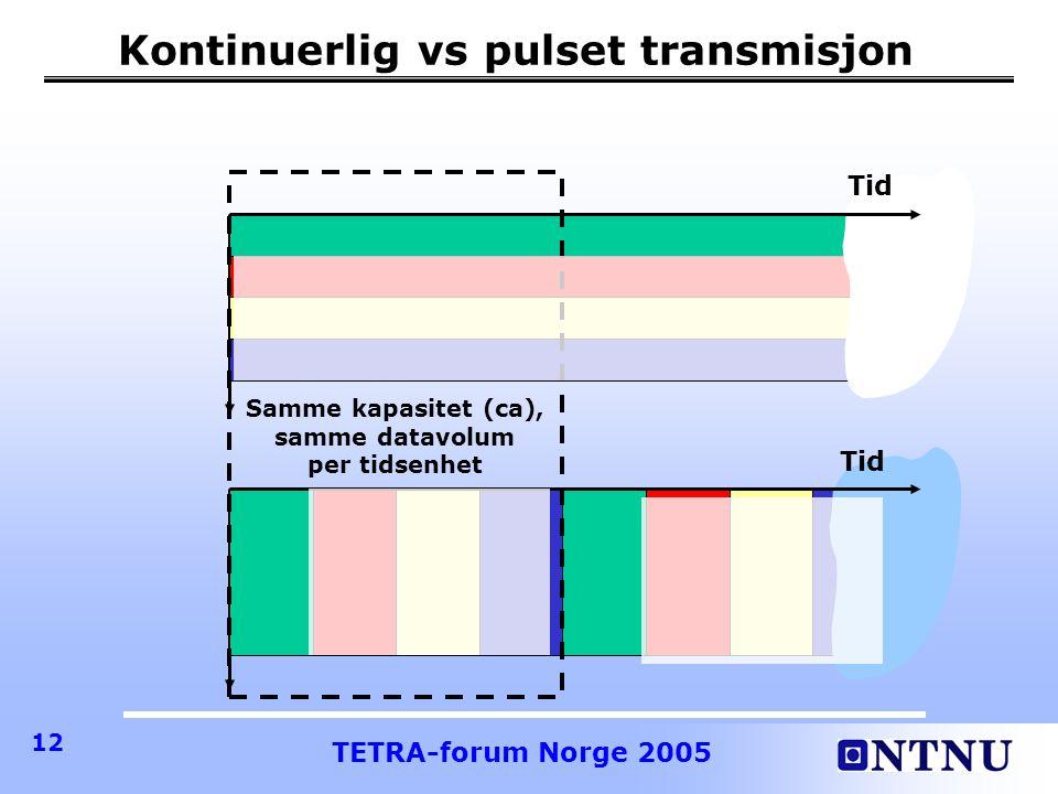TETRA-forum Norge 2005 12 Kontinuerlig vs pulset transmisjon Tid Samme kapasitet (ca), samme datavolum per tidsenhet