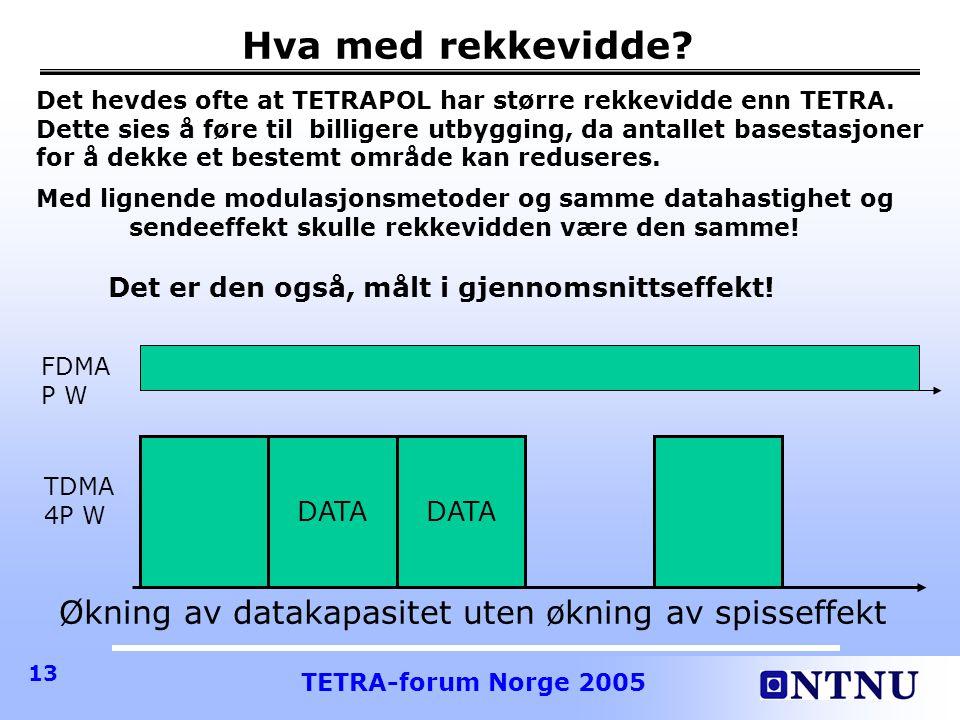 TETRA-forum Norge 2005 13 Hva med rekkevidde.