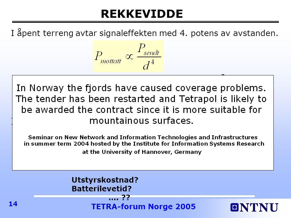 TETRA-forum Norge 2005 14 REKKEVIDDE I åpent terreng avtar signaleffekten med 4.
