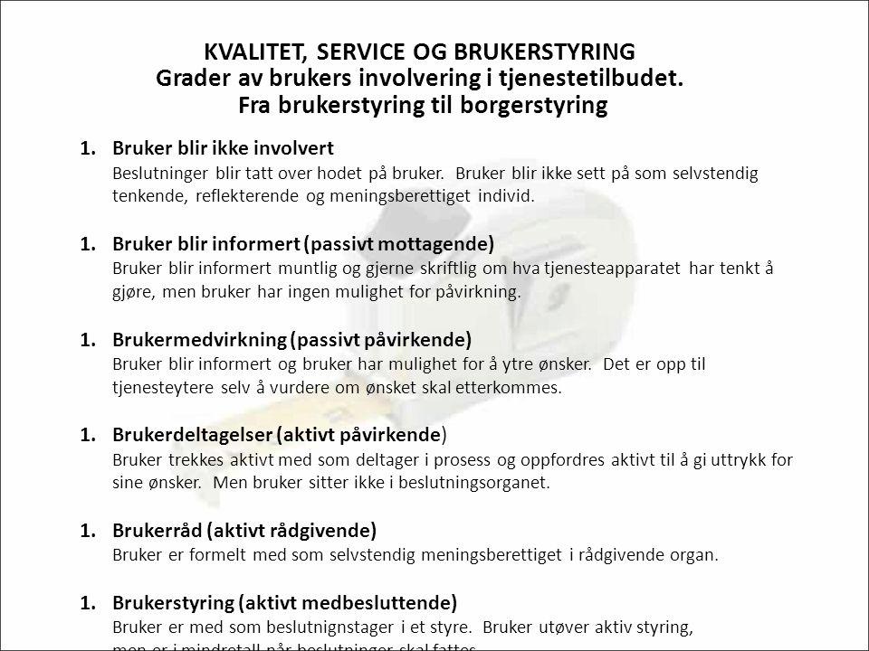 KVALITET, SERVICE OG BRUKERSTYRING Grader av brukers involvering i tjenestetilbudet.