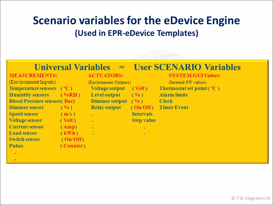 Scenario variables for the eDevice Engine (Used in EPR-eDevice Templates) © IT & Integration AS Universal Variables = User SCENARIO Variables MEASUREMENTS: ACTUATORS: SYSTEM/GUI Values: (Environment Inputs) (Environment Outputs) (Internal SW values) Temperature sensors ( ºC )Voltage output ( Volt )Thermostat set point ( ºC ) Humidity sensors ( %RH )Level output ( % )Alarm limits Blood Pressure sensors( Bar)Dimmer output ( % )Clock Dimmer sensor ( % )Relay output ( On/Off )Timer Event Speed sensor ( m/s ).Intervals Voltage sensor ( Volt ).Step value Current sensor ( Amp)..