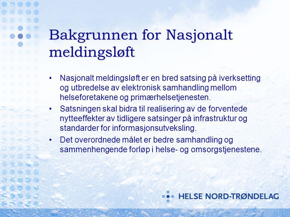 Meldingsløftet i Helse Midt- Norge, organisering •Eget program under nasjonalt meldingsløft •Egen styringsgruppe – samhandling •Prosjektledelse fra Helse Midt-Norge IT, HEMIT •Prosjektledere i hvert enkelt HF tilknyttet regionalt program