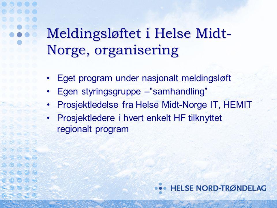 """Meldingsløftet i Helse Midt- Norge, organisering •Eget program under nasjonalt meldingsløft •Egen styringsgruppe –""""samhandling"""" •Prosjektledelse fra H"""