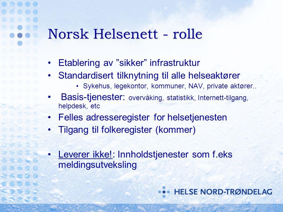 """Norsk Helsenett - rolle •Etablering av """"sikker"""" infrastruktur •Standardisert tilknytning til alle helseaktører •Sykehus, legekontor, kommuner, NAV, pr"""