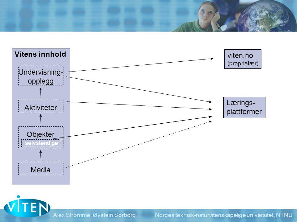 Vitens innhold Undervisning- opplegg Aktiviteter Objekter Media viten.no (proprietær) Lærings- plattformer selvstendige