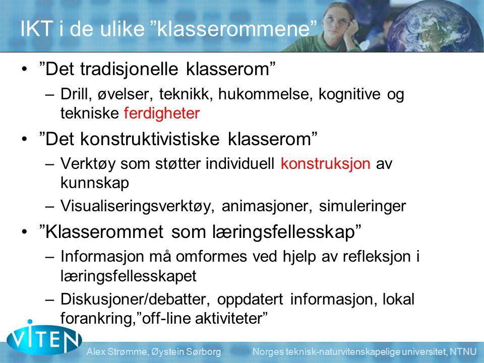 Alex Strømme, Øystein Sørborg Norges teknisk-naturvitenskapelige universitet, NTNU Klasseromstypologi Sten R.