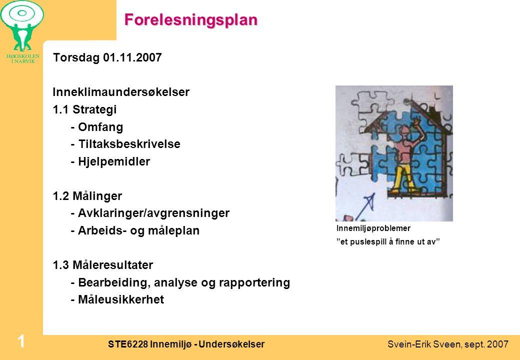Svein-Erik Sveen, sept. 2007STE6228 Innemiljø - Undersøkelser 1Forelesningsplan Torsdag 01.11.2007 Inneklimaundersøkelser 1.1 Strategi - Omfang - Tilt