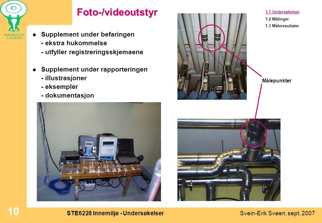 Svein-Erik Sveen, sept. 2007STE6228 Innemiljø - Undersøkelser 10Foto-/videoutstyr  Supplement under befaringen - ekstra hukommelse - utfyller registr