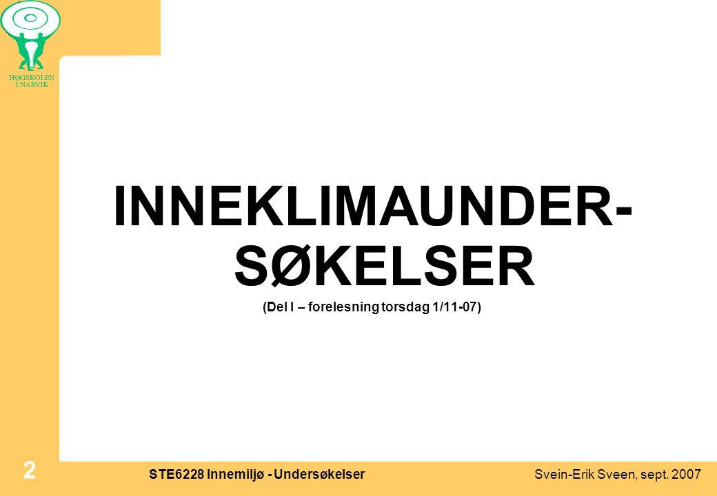 Svein-Erik Sveen, sept. 2007STE6228 Innemiljø - Undersøkelser 2 INNEKLIMAUNDER- SØKELSER (Del I – forelesning torsdag 1/11-07)