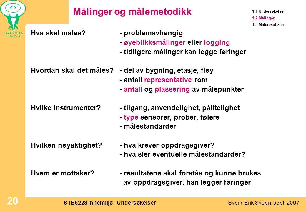 Svein-Erik Sveen, sept. 2007STE6228 Innemiljø - Undersøkelser 20 Målinger og målemetodikk Hva skal måles?- problemavhengig - øyeblikksmålinger eller l