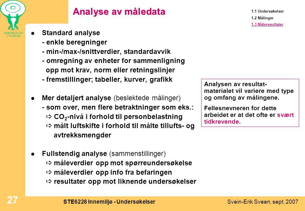 Svein-Erik Sveen, sept. 2007STE6228 Innemiljø - Undersøkelser 27 Analyse av måledata  Standard analyse - enkle beregninger - min-/max-/snittverdier,