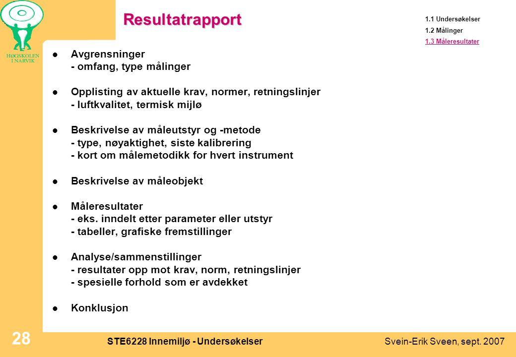 Svein-Erik Sveen, sept. 2007STE6228 Innemiljø - Undersøkelser 28Resultatrapport  Avgrensninger - omfang, type målinger  Opplisting av aktuelle krav,