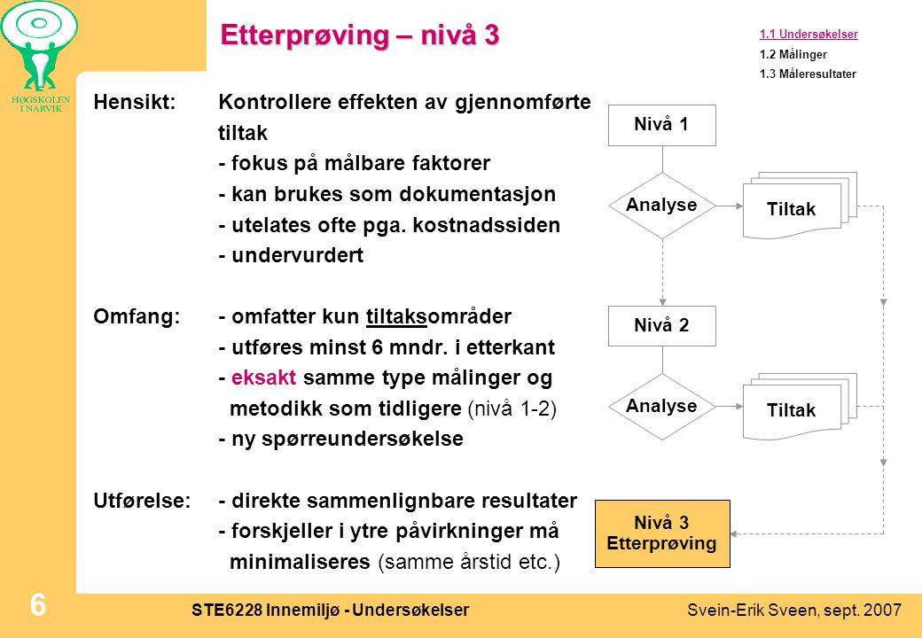 Svein-Erik Sveen, sept. 2007STE6228 Innemiljø - Undersøkelser 6 Etterprøving – nivå 3 Hensikt:Kontrollere effekten av gjennomførte tiltak - fokus på m