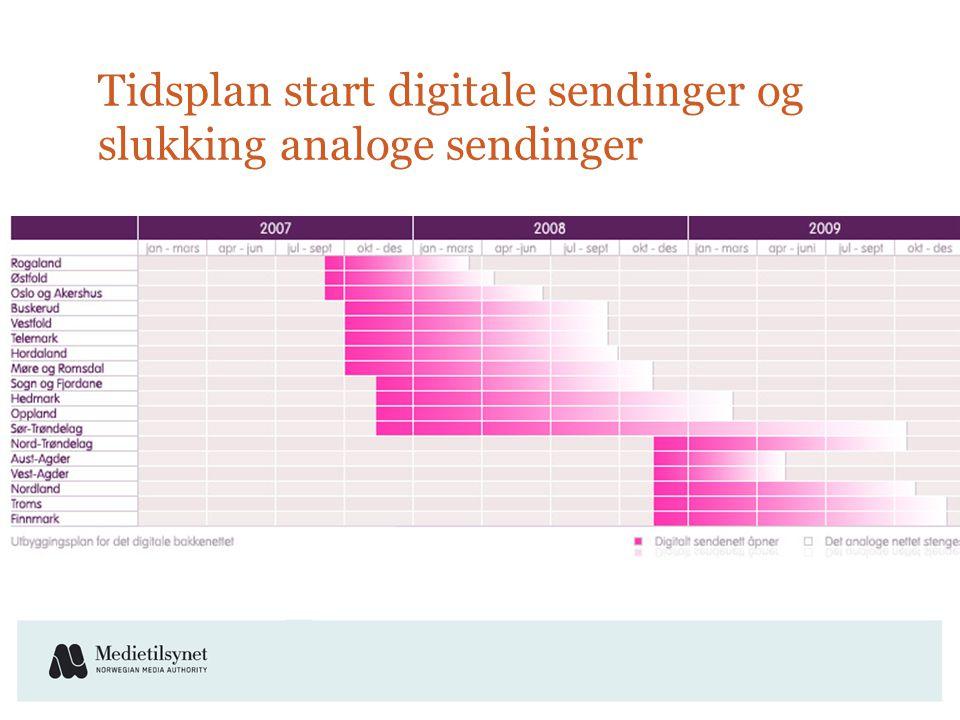 Tidsplan start digitale sendinger og slukking analoge sendinger