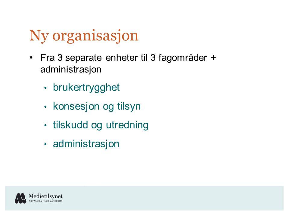 Ny organisasjon •Fra 3 separate enheter til 3 fagområder + administrasjon • brukertrygghet • konsesjon og tilsyn • tilskudd og utredning • administrasjon