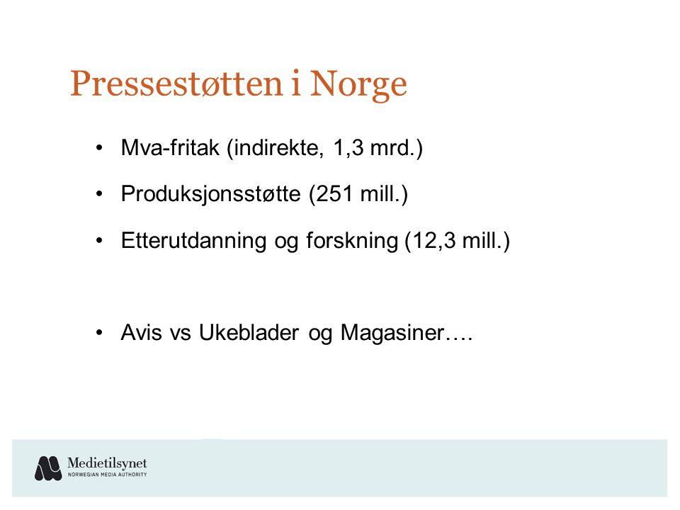 Pressestøtten i Norge •Mva-fritak (indirekte, 1,3 mrd.) •Produksjonsstøtte (251 mill.) •Etterutdanning og forskning (12,3 mill.) •Avis vs Ukeblader og Magasiner….