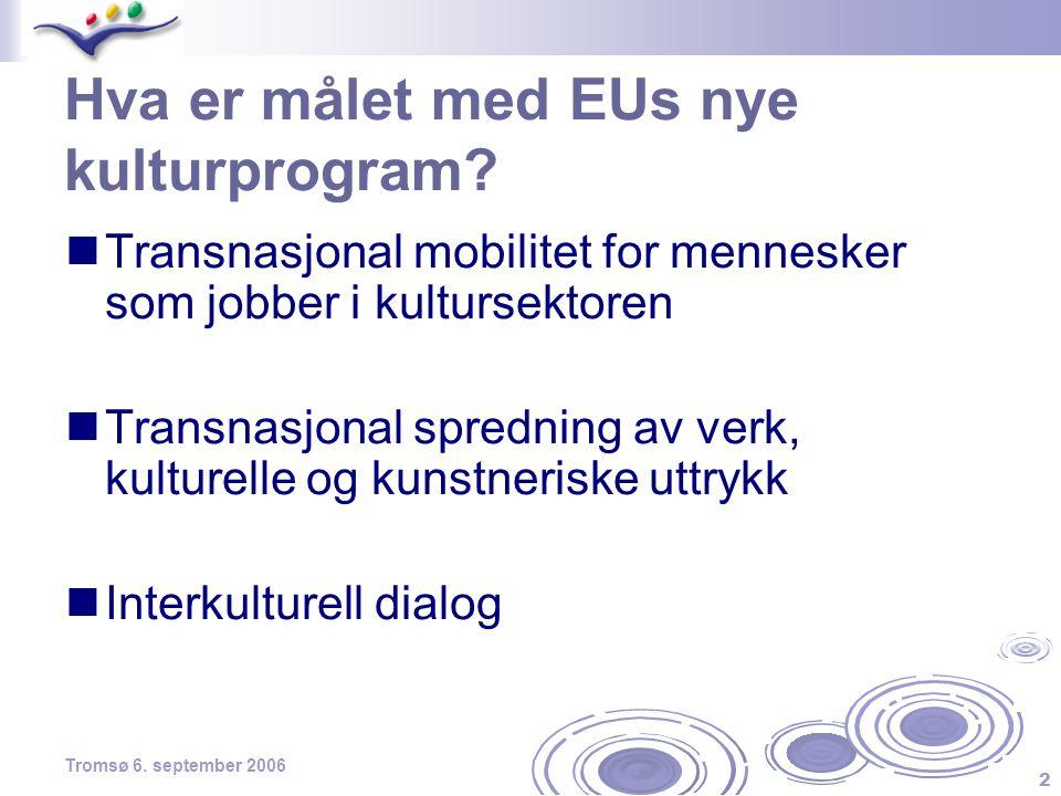 2 Tromsø 6. september 2006 Hva er målet med EUs nye kulturprogram?  Transnasjonal mobilitet for mennesker som jobber i kultursektoren  Transnasjonal