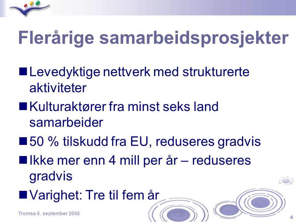 4 Tromsø 6. september 2006 Flerårige samarbeidsprosjekter  Levedyktige nettverk med strukturerte aktiviteter  Kulturaktører fra minst seks land sama