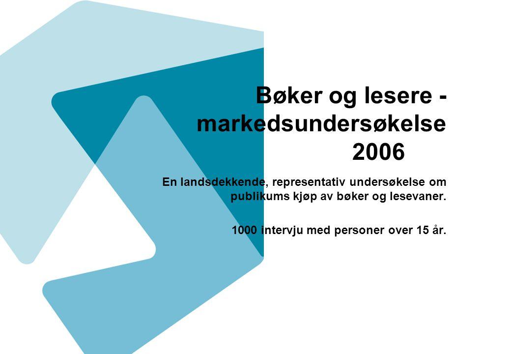 Bøker og lesere - markedsundersøkelse 2006 En landsdekkende, representativ undersøkelse om publikums kjøp av bøker og lesevaner. 1000 intervju med per