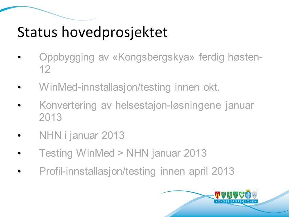 Status hovedprosjektet • Oppbygging av «Kongsbergskya» ferdig høsten- 12 • WinMed-innstallasjon/testing innen okt. • Konvertering av helsestajon-løsni