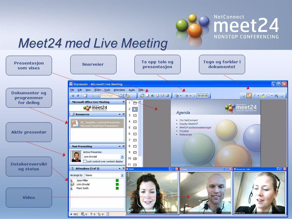 Meet24 med Live Meeting Snarveier Dokumenter og programmer for deling Ta opp tale og presentasjon Video Detakeroversikt og status Aktiv presentør Tegn og forklar i dokumentet Presentasjon som vises