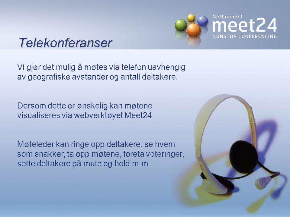 Meet24 audio  Opprett og administrer møtene dine på Meet24.no  Inviter via Meet24, Outlook og Lotus Notes  Lett å bruke både for sekretær, resepsjonist eller møteleder selv  Inviter et ubegrenset antall deltagere  Ring opp deltagerne fra PC-en din  Ring inn til møtene via lokale numre verden over  Identifiser og administrer deltagerne fra din egen PC ved pålogging på meet24.no  Ta opp og spill av konferansene  Få assistanse ved behov