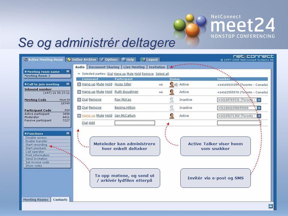 Webkonferanser Video Meet24 gir deg mulighet til å holde videokonferanser fra din egen PC Fildeling Møteleder viser dokumenter, regneark, bilder eller presentasjoner til møtedeltagerne over Internett.