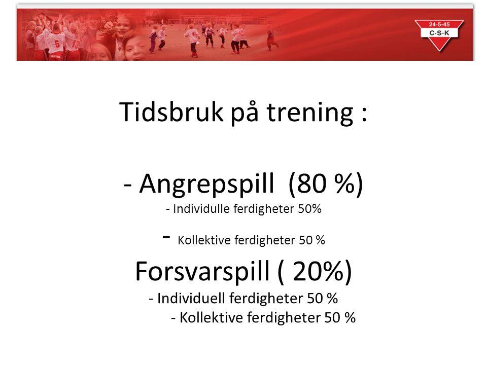 Tidsbruk på trening : - Angrepspill (80 %) - Individulle ferdigheter 50% - Kollektive ferdigheter 50 % Forsvarspill ( 20%) - Individuell ferdigheter 5