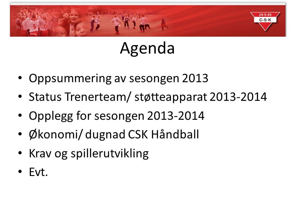 Agenda • Oppsummering av sesongen 2013 • Status Trenerteam/ støtteapparat 2013-2014 • Opplegg for sesongen 2013-2014 • Økonomi/ dugnad CSK Håndball •