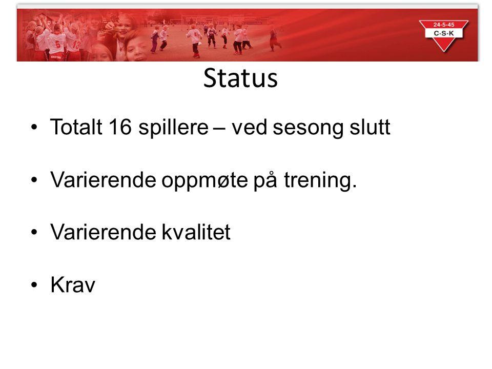 Status • Totalt 16 spillere – ved sesong slutt • Varierende oppmøte på trening. • Varierende kvalitet • Krav