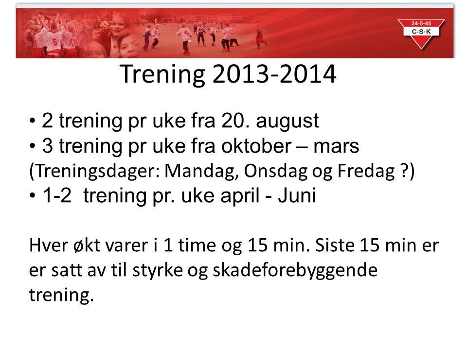 Trening 2013-2014 • 2 trening pr uke fra 20. august • 3 trening pr uke fra oktober – mars (Treningsdager: Mandag, Onsdag og Fredag ?) • 1-2 trening pr
