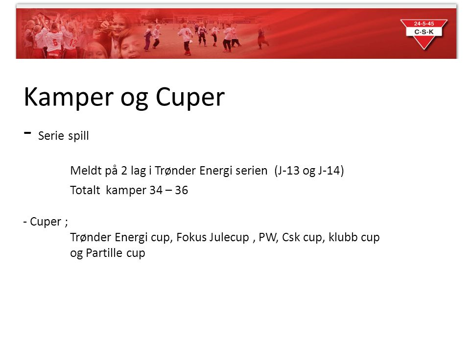 Kamper og Cuper - Serie spill Meldt på 2 lag i Trønder Energi serien (J-13 og J-14) Totalt kamper 34 – 36 - Cuper ; Trønder Energi cup, Fokus Julecup,