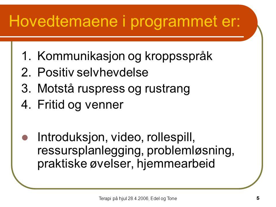 Terapi på hjul 28.4.2006, Edel og Tone5 Hovedtemaene i programmet er: 1.Kommunikasjon og kroppsspråk 2.Positiv selvhevdelse 3.