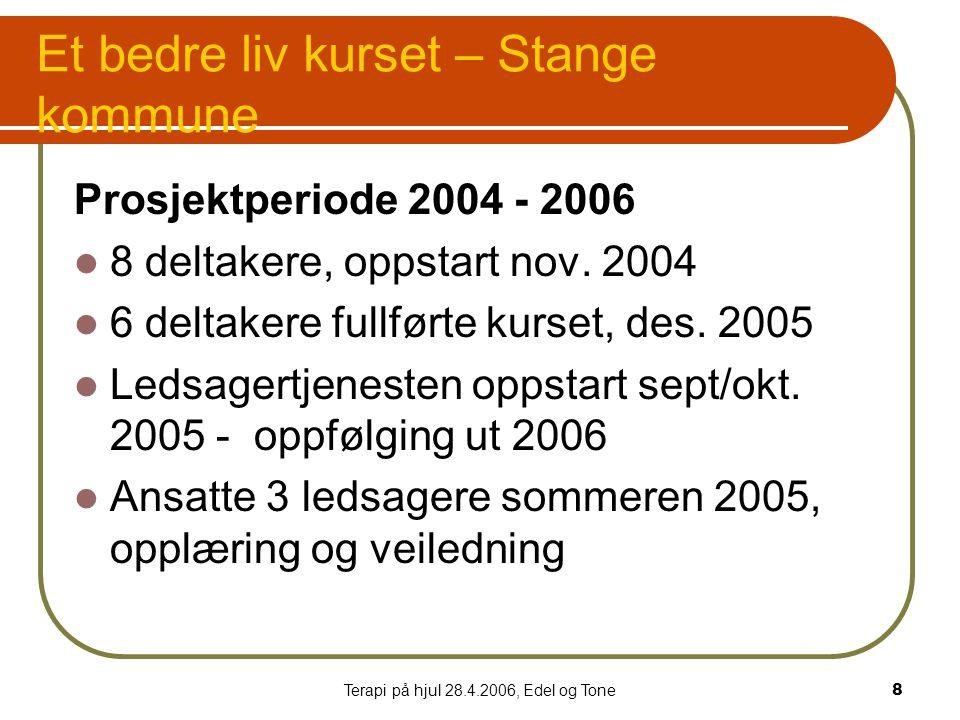 Terapi på hjul 28.4.2006, Edel og Tone8 Et bedre liv kurset – Stange kommune Prosjektperiode 2004 - 2006  8 deltakere, oppstart nov.