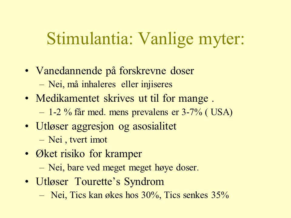 Stimulantia: Vanlige myter: •Vanedannende på forskrevne doser –Nei, må inhaleres eller injiseres •Medikamentet skrives ut til for mange. –1-2 % får me