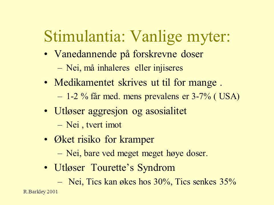 R.Barkley 2001 Stimulantia: Vanlige myter: •Vanedannende på forskrevne doser –Nei, må inhaleres eller injiseres •Medikamentet skrives ut til for mange