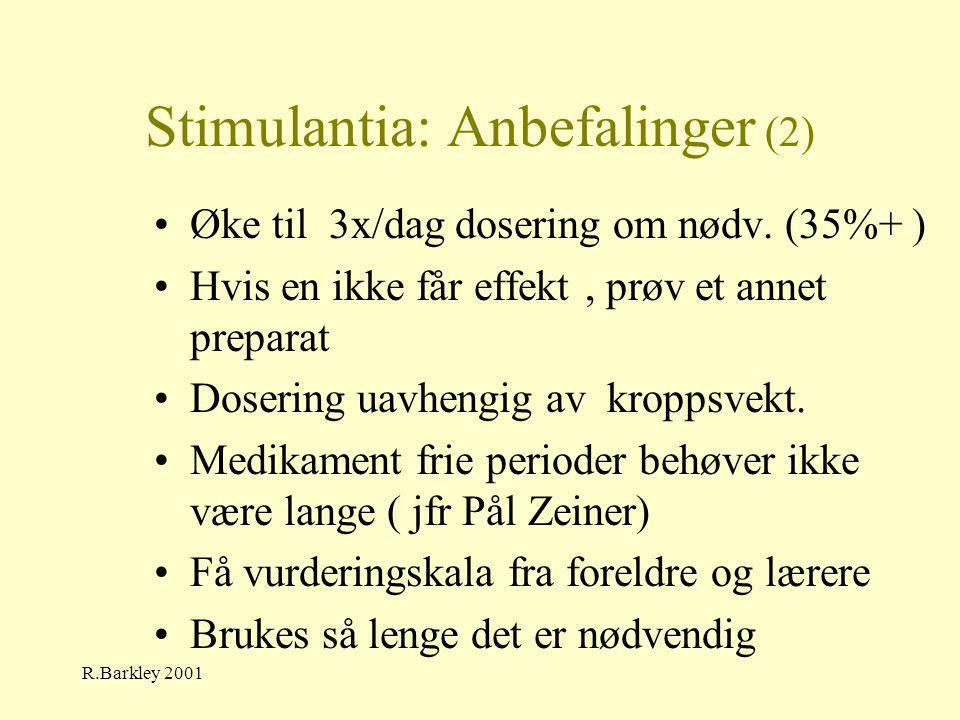 R.Barkley 2001 Stimulantia: Anbefalinger (2) •Øke til 3x/dag dosering om nødv. (35%+ ) •Hvis en ikke får effekt, prøv et annet preparat •Dosering uavh